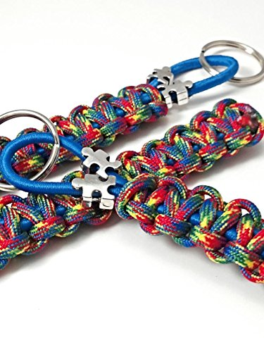 Autism Keychain Multi Colored Bright Paracord Blue Bungee Autism Mom Dad And Teacher's (Keychain Awareness Autism)