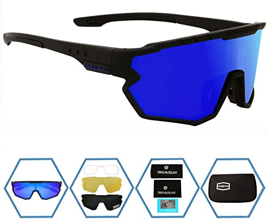 Black Black UV400 Cycling Riding Bicycle Sports Skiing Protective Goggle SunGlasses W//3 lens