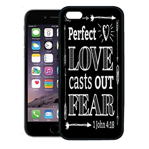 Semtomn Phone Case for iPhone 8 Plus case,Perfect Love Casts Out Fear Christian Bible Scripture Arrow Border and Heart Light Rays from John iPhone 7 Plus case Cover,Black ()