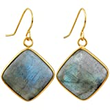 SUNYIK Women's Labradorite Rhombus Dangle Earrings