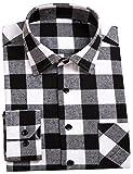 DOKKIA Men's Button Down Buffalo Plaid Checked Long Sleeve Flannel Shirts (Black White Buffalo, Large)