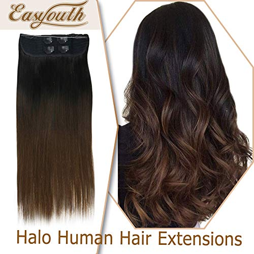 Easyouth Halo Hair Extensions 22inch Color 1B Off Black Fading to 4 Middle Brown Colored 100g on Wire Hidden Secret Headband