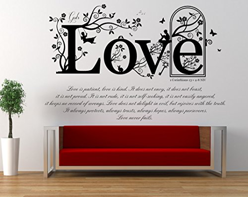 1 Corinthians 13 v 4-8, NIV Christian Bible Verse Quote, Vinyl Wall Art Sticker, Mural, Decal. Home, Church, School Decor. Dimensions of sticker: 47 1/4