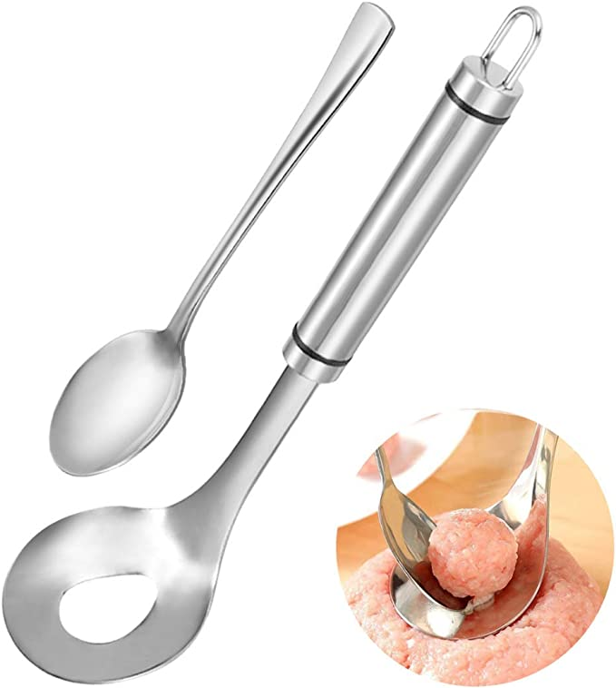 Meatball Spoon, Stainless Steel Meatball Scoop Ball Maker, Non-Stick Meatball Maker Meat Baller with Long Handle