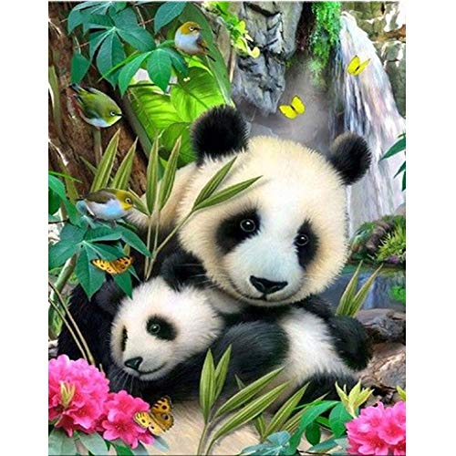 DIY 5D Diamond Painting Kit,Full Drill Round Drill Rhinestone Animal Panda Painting Living Room Study Shower Room Painting Wall Home Decoration Christmas Gift Cross Stitch Art Craft Work (Paintings Animals)