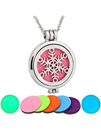 Silver Color Snowflake Noctilucence Aromatherapy Multicolor Pendant Necklace 62cm