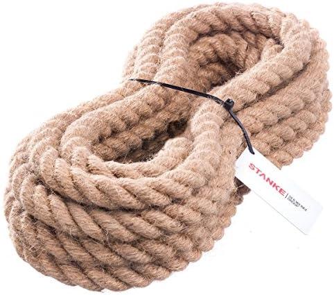 Seilwerk STANKE Cuerda de Yute 40 m de 14 mm Hilos Naturales Aparejo C/á/ñamo Jute Cuerda Tender la Cuerda Cuerda de Barandilla