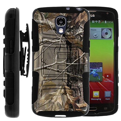 LG Volt Case, LG Volt Holster, Two Layer Hybrid Armor Hard Cover with Built in Kickstand and Unique Graphic Images for LG Volt F90, LS740 (Sprint, Boost Mobile, Virigin Mobile) from MINITURTLE | Includes Screen Protector - Fallen Leaves Camouflage