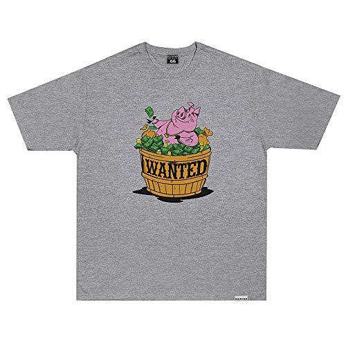 Camiseta Wanted - Pig Hustlin cinza Cor:Cinza;Tamanho:M
