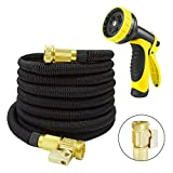 Beaulife Expanding Garden Hose 50ft with 9 Functions Sprayer Nozzle Expandable Hose Black