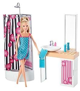 Barbie mu eca con mueble de ba o mattel cfb61 for Amazon muebles de bano