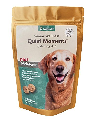 Quiet Moments Calming Aid Soft Chew Supplement for Senior Dogs, Reduce Stress and Anxiety with this Veterinarian formulated calming supplement by NaturVet