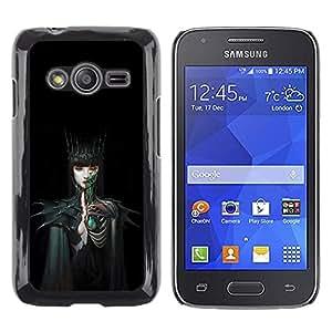 Caucho caso de Shell duro de la cubierta de accesorios de protección BY RAYDREAMMM - Samsung Galaxy Ace 4 G313 SM-G313F - Woman Black Dark Fairytale