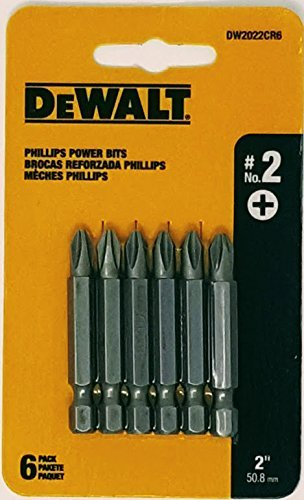 DEWALT DW2022CR6 #2 Phillips 2-inch Power Bits- 6pk Card Phillips Bits