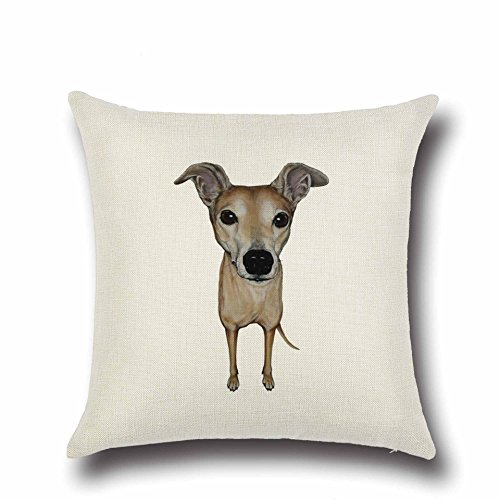 Ezyforu Throw Pillow Covers Italian Greyhound Cotton Linen Burlap Pillowcases Decorative Home Automobile Sofa Square Cushion Covers Cases, 18