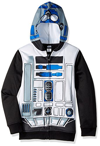 Star Wars Big Boys' R2d2 Sublimated Fleece Zip Costume Hoodie, multi, Small-10 ()