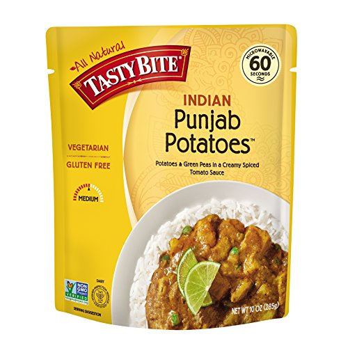 Tasty Bite Indian Entree Punjab Potatoes 10 Ounce (Pack of 6), Fully Cooked Indian Entrée with Potatoes & Green Peas in a Creamy Spiced Tomato Sauce, Vegetarian, Gluten Free, Ready to Eat