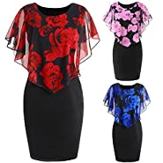 HGWXX7 Womens Fashion Plus Size Rose Print Chiffon Straight Skirt Ruffles Dress