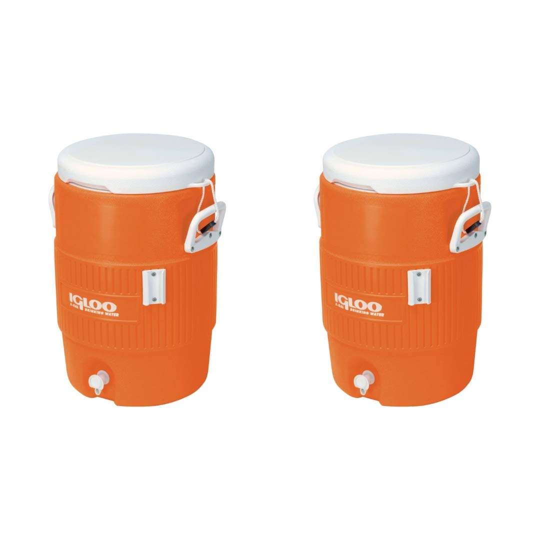 Igloo 5-Gallon Heavy-Duty Beverage Cooler, Orange & Ultimate Drip Catcher Set (2 Set, 5-Gallon, Orange)