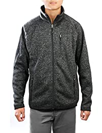 AN Mens Fleece Jacket Full Zip 3 Pockets Sweater Knit Outerwear for Fall Spring