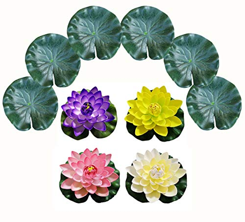 (PIXHOTUL 10 Pcs Artificial Floating Pond Decoration Water Floating Lotus Flowers and Lotus Leaves for Pond Decor)