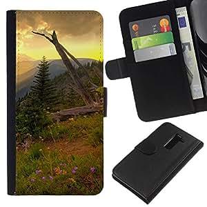 NEECELL GIFT forCITY // Billetera de cuero Caso Cubierta de protección Carcasa / Leather Wallet Case for LG G2 D800 // Americana Montaña Forrest