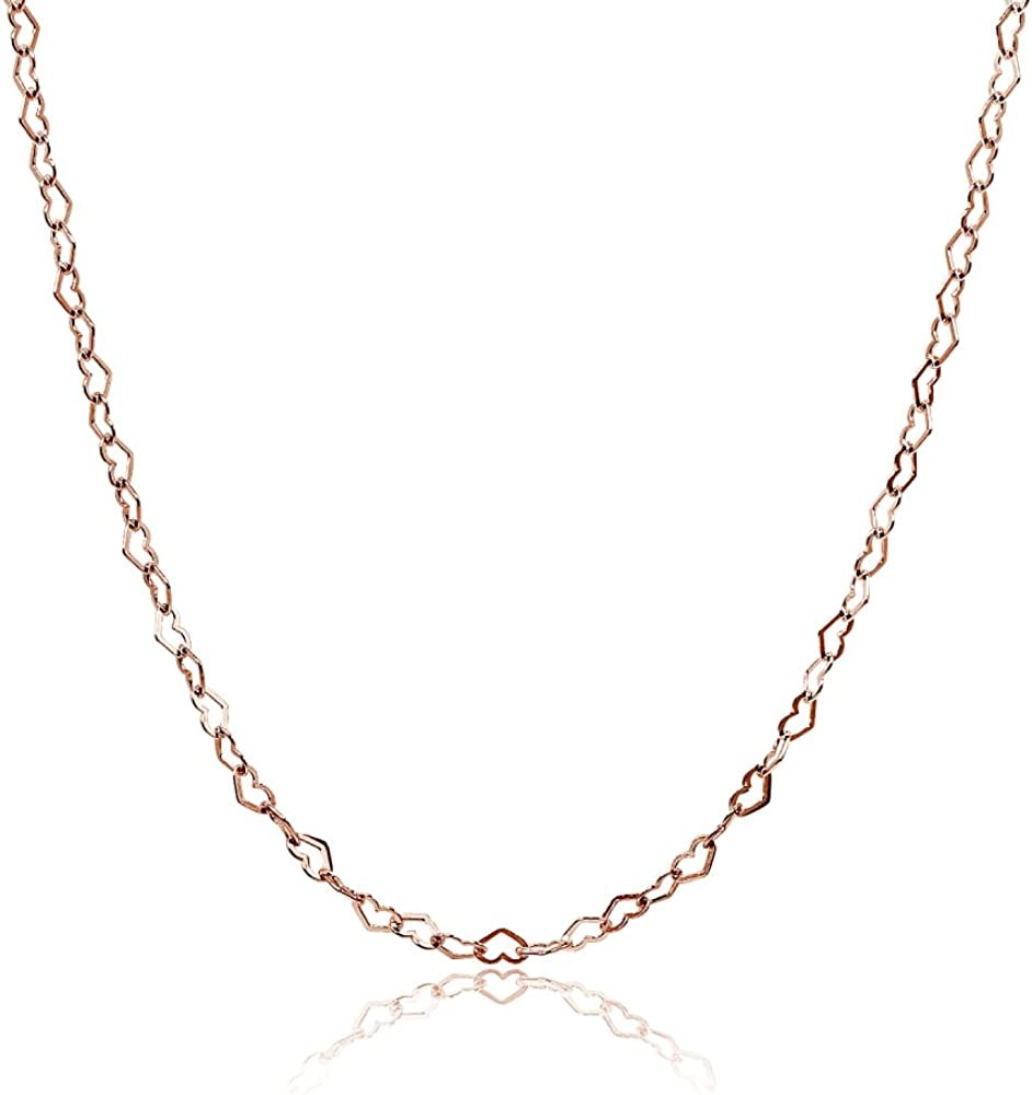 15 Inch .925 Sterling Silver Heart Chain Necklace