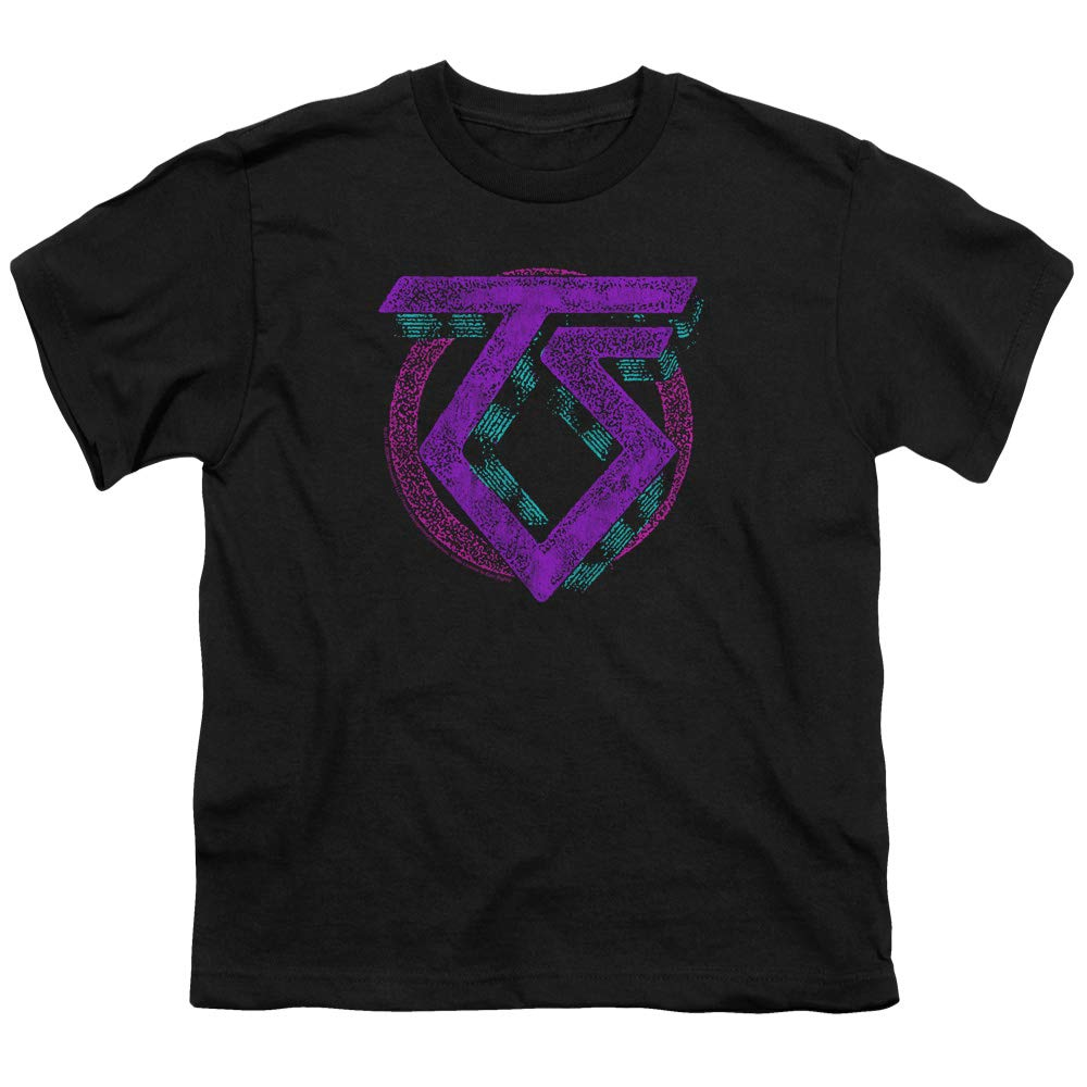 A E Designs Twisted Sister T Shirt Distressed Neon Logo Black Tee