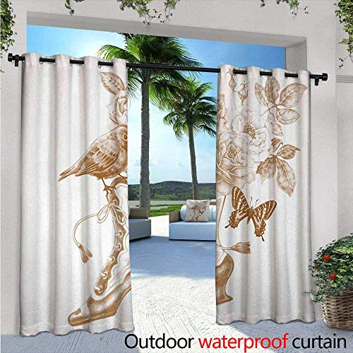 Victorian Fashions Drape Nostalgic Boots with Roses Butterfly and Bird British Trend Upper Class Shoe Art Outdoor Curtain Waterproof Rustproof Grommet Drape W120 x L108 Brown White (T-mac Shoes Basketball)