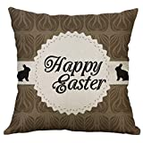 Linen Square Throw Pillow Case Decorative Cushion Cover CartoonCute Bunny Easter Eggs Printing Pillowcase 18 ''X18