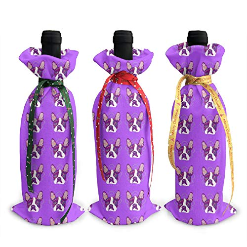 Wodehous Adonis Purple Boston Terrier Dog 3Pcs Christmas Wine Bottle Covers Gift Bags Champagne Bags Home Party Decoration