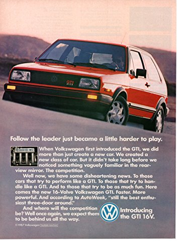 """Magazine Print Ad: Red 1987 VW Volkswagen GTI 16V,""""Follow the leader just became a little harder to play"""""""