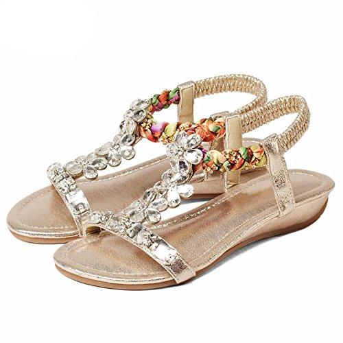Sandalias de diamantes pendiente de verano femenina simple con calzado de playa Oro
