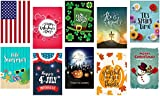 Seasonal Garden Flag Set of 10, Double-sided, Polyester, Great Design Assortment Yard Flag to Bright Up Your Days of All Seasons 12'' x 18'' + BONUS Rubber Stopper and Anti-wind Clip
