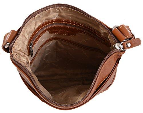 GIANNI CONTI ITALIANA FINE PELLE MEDIO TOP ZIP a tracolla borsa in 3 COLORI 583644 Tan