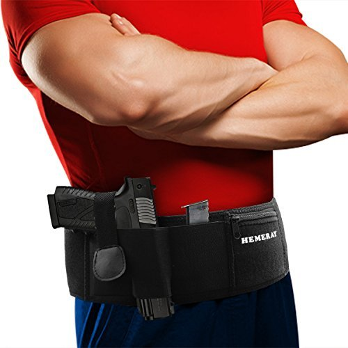 HEMERAY Belly Band Gun Holster for Concealed Carry, Right or Left Hand Neoprene Inside/Outside Waistband Holster Hand Gun Holder For Pistols