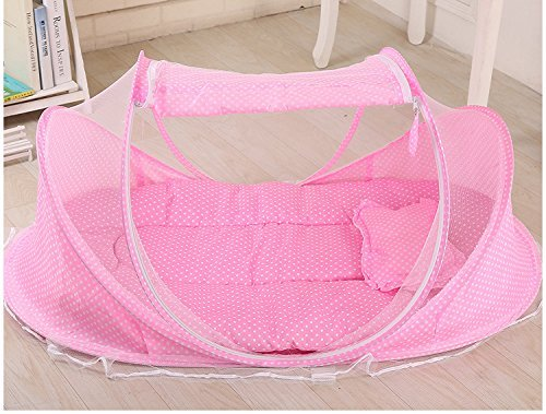 SUPOW Baby Mosquito Net Bed, Portable Infant Tent Folding Infant Travel Crib Mosquito Bed Summer (Pink/) by SUPOW (Image #1)