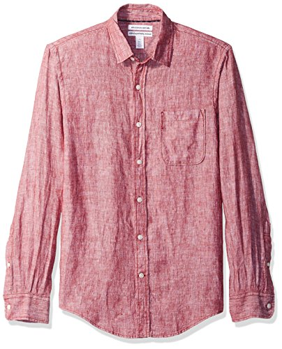 Amazon Essentials Men's Slim-Fit Long-Sleeve Linen Shirt, Red, Small