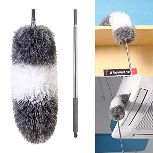 """BOOMJOY Microfiber Telescoping Duster, 100"""" Extendable, Scratch-Resistant Cover, Stainless Steel Pole, Detachable Bendable Head, Washable"""