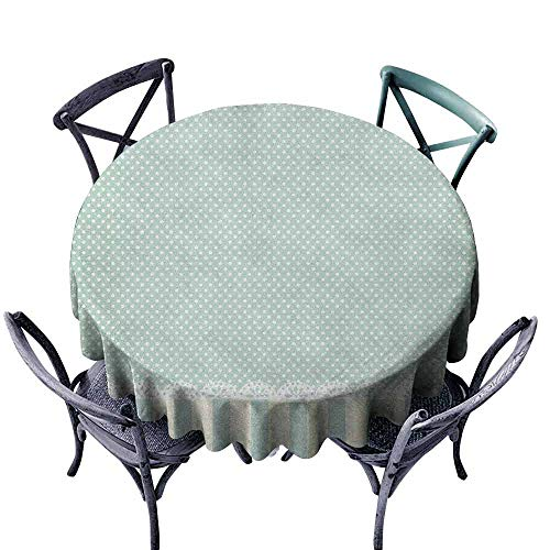 ScottDecor Patterned Round Tablecloth Jacquard Tablecloth Shabby Chic,Traditional Old Fashioned Vertical Stripes Ornaments and Dots, Almond Green Cream White Diameter 50