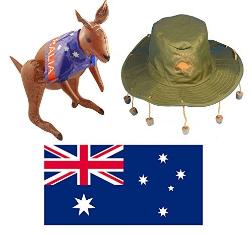 AUSTRALIA CORK HAT + AUSTRALIA NATIONAL FLAG + INFLATABLE KANGAROO - FANCY DRESS THEMED OUTFIT by Red (Aussie Flag Dress)