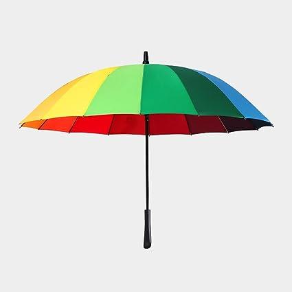 Lin Hai Paraguas de Arcoíris Súper Recto, Mango Largo, Doble Doble, Tres automáticamente