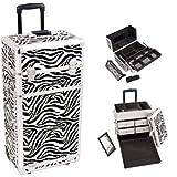 Sunrise I3762ZBWH Zebra Professional Rolling Aluminum Cosmetic Makeup Craft Storage Organizer Case with Split Drawers, Easy Slide Extendable Trays and Brush Holder