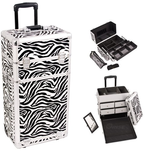 29 Inch Zebra Print Pattern Interchangeable Series Cosmetic Train Case Beauty Supply Holder Makup Travel Tote with 2 In-Line Wheels and Telescoping Tow (Zebra Makeup Halloween)