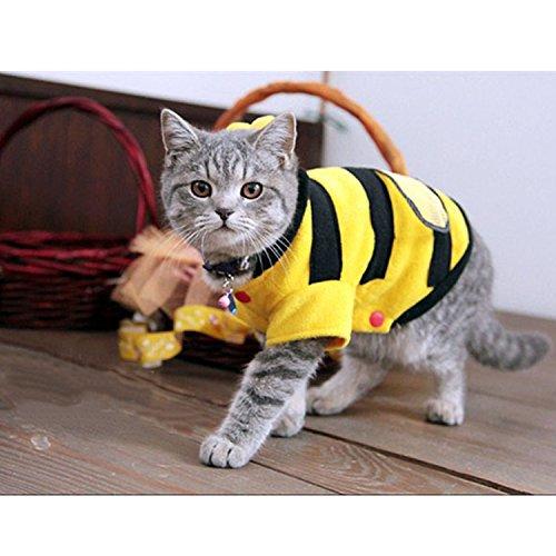 Amazon.com : Cute Bee Design Pet Dog Polar Fleece Cloth Clothing Cat Clothes Puppy Hoodie Plush Warm Winter Coat Apparel Costume Accessory for Dogs Pets ...