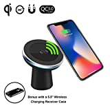 Fast Wireless Car Charger Magnetic Car Mount Compatible iPhone X/Samsung Galaxy Note 9 All Qi-Enabled Device Wireless Charging Receiver Case 5.5 inch Compatible iPhone 7 Plus/6 Plus