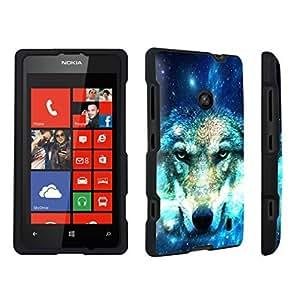 linJUN FENGDuroCase ? Nokia Lumia 521 Hard Case Black - (Wolf In Space)