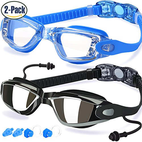 Swim Goggles, Pack of 2, Swimming Goggles for Adult Men Women Youth Kids Child, Triathlon Equipment, with Mirrored & Clear Anti-Fog, Waterproof, UV 400 Protection Lenses, Made by COOLOO, - Protection Uv Lens 400