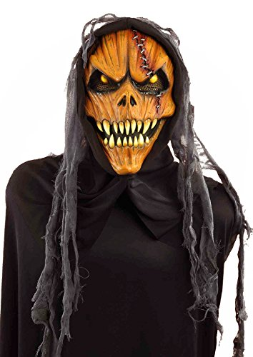 Forum Novelties Men's Hooded Pumpkin Monster Mask, Multi, One Size (Halloween Masks Scary)