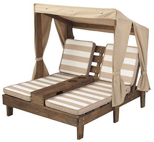 KidKraft Double Chaise Lounge with Cup Holders (Outdoor Chaise Double Furniture)